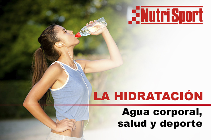 chica bebiendo agua y título hidratación